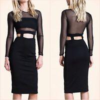 OhMy❤ @ Topshop Black Mesh Long Sleeve Bodycon Midi Dress Size 10 12 US 8 10 ❤