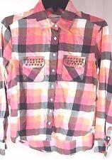 Juniors Ladies Womens Button Down Shirt Aeropostale Size Med Peach Brown Check