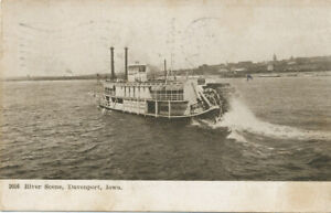 Davenport IA * River Scene and Paddle Wheel Steam Packet Boat  1907