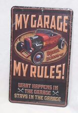 METAL SIGN My Garage, My Rules, What Happens in the Garage Stays in the Garage