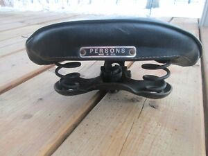 VINTAGE BLACK PERSONS USA BICYCLE SEAT PERMACO 813 NOUGAHYDE CLASSIC ORIGINAL