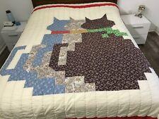Quilt Queen 97x 86 Hand Pieced 3 Cats Kittens Beach Blanket Tablecloth Coverlet