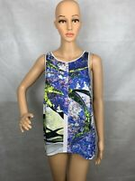 Clover Canyon Womens Scoop Neck Blue Tank Top Blouse White Floral Size Medium