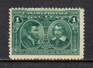 Canada # 97, unused, NG, F, 1¢ Quebec Tercentenary, 1908