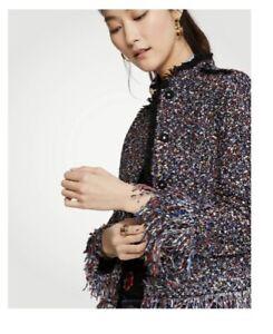 NWOT Ann Taylor Womens  Fiesta Tweed Blazer Jacket Fringe Size L Tall Ret. 168