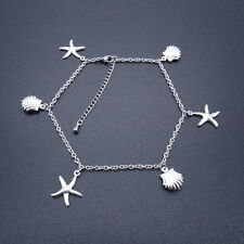 Stainless Steel Anklets Starfish & Shell Charm Ankle Bracelet 9-11 Inches SSA509