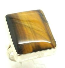 Rectangle Tiger Eye Sterling Silver 925 Ring 10g Sz.9 RET149