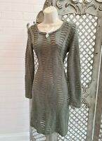 ALMOST FAMOUS 💋 DESIGER GREEN SHABBY RIPPED HOLE JUMPER DRESS UK 12 QUIRKY