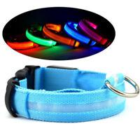 Nylon USB Recarga Luz LED Mascota Collares de Perros Seguridad Nocturna Encender