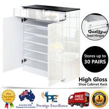 High Gloss Shoe Cabinet Storage Rack 30 Pairs Organiser Wooden Shelf White Black