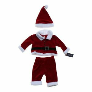 *NEW Cherokee Red 3 Pc Christmas Santa Claus Suit Hat Set Infant 3-6 M