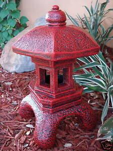 PAGODA ORIENTAL STONE CONCRETE LANTERN JAPANESE ANTIQUE RED CEMENT YARD ART