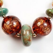 """TURQUOISE 14k Gold Filled AMBER Gemstone NECKLACE ~ 20"""" ~ 299 carats!! 59.8g!!"""