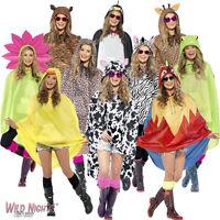 FANCY DRESS # ADULT MENS LADIES WATERPROOF FESTIVAL ANIMAL PRINT PARTY PONCHO
