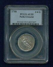 NETHERLANDS UTRECHT  1758  1/4 GULDEN SILVER COIN, PCGS CERTIFIED AU-55