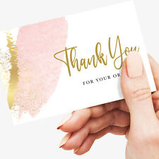 More details for thank you for your order cards, small business - pink - 350gsm card, 25/200 pack