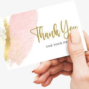 Thank You For Your Order Cards, Small Business - Pink - 350gsm card, 25/200 pack