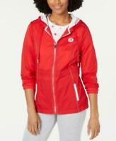 Tommy Hilfiger $129 Women's Sport Hooded Jacket Red Size Medium M