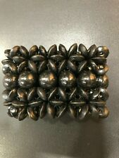 AUTHENTIC BEADED ELASTICATED BLACK WOODEN BRACELET 6cm x 20cm  ROOTS