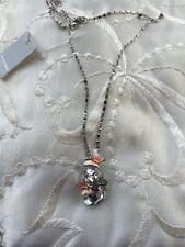 Strass Glas Stein Schmetterling Kugel weiß orange Halskette