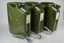 3x Bezin-/Dieselkanister 20L aus Metall inkl. 3x flexiblen Metalausgiesser