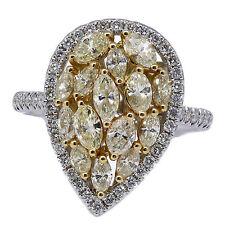 1.78 T.C.W Fancy Yellow Diamond Cocktail Ring 18k White Gold
