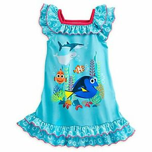 Disney Store Girls Finding Dory Nemo Blue Bubble Nightgown, Size 5/6