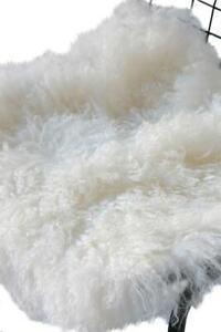 Mongolian Fur Seat Pad Wool Natural 40 x 40 cm Lounge Dining Room Bohemian