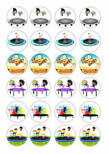 24 TRAMPOLINING / TRAMPOLINE   BIRTHDAY CUPCAKE TOPPERS WAFER RICE EDIBLE