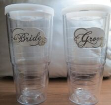 TERVIS ~ BRIDE & GROOM TUMBLER SET ~ TWO 24 Oz. CLEAR TUMBLERS with LIDS