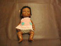 VINTAGE 1970 IDEAL BLACK RUBBER SQUEESE DOLL MOVING LIMBS & HEAD