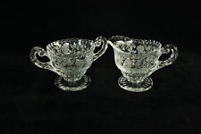 CAMBRIDGE GLASS ROSE POINT ETCH CRYSTAL IND. CREAM & SUGAR ELEGANT SET # 3500/15