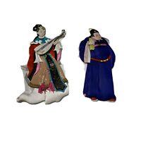 VTG Large Chinese Japanese Silk Paper Dolls Ornaments RARE Geisha!! Lot of 2