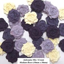 12 Purple Mix Cream Sugar Roses edible sugarpaste flowers cake decorations