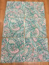 """FLORAL PAISLEY NAPKINS SET OF 6  CLOTH 16"""" SQUARE TEAL PINK WITH GOLD SHIMMER"""