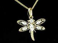 585 Gold kleiner Libellen Anhänger mit Goldkkette und Zirkonia Stein 17 x 14 mm