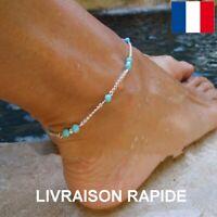 Bracelet Cheville Perle Bleu Chaîne Argentée Plage Eté Bijou Femme Cadeau