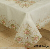 """Embroidered Pink Rose Floral Cutwork Sheer Tablecloth 70x104"""" & 12 Napkins 3737E"""