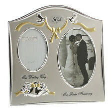 50th Golden Gold Wedding Anniversary Silver Plated Photo Frame Gift Idea FS55050