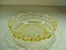 Depression Glass:  Old Colony / Open Lace Pattern in Yellow Serving Salad Bowl