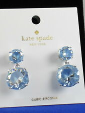 Kate Spade Silver Light Sapphire Blue Cubic Zirconia Double Drop Earrings $58