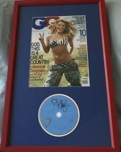 Jessica Simpson autographed signed Sweet Kisses CD framed w 2005 GQ bikini cover