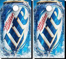 VINYL WRAPS Cornhole Boards DECALS Miller Lite Beer Bean Bag Toss Game Stickers