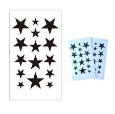 Contorno Negro Estrellas Kawaii gótico Wicca Pagano SD extraíble arte corporal A prueba de agua