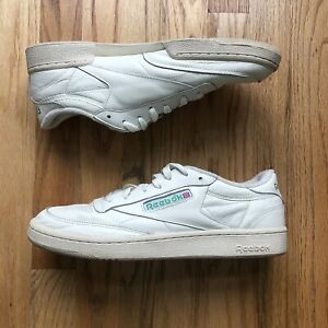 Men's Reebok Off White Club C 85 Vintage Low Top Sneakers Shoes Sz 10.5 EUR 44
