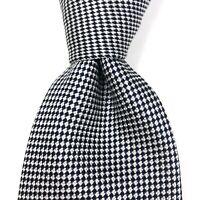 CHARLES TYRWHITT Jermyn Street London Tie Micro Plaid White Blue Black Necktie