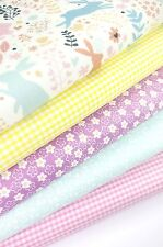 FABRIC BUNDLE WOODLAND BUNNIES FAT QUARTERS POLYCOTTON CRAFT BUNTING