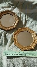 Pair of Vintage Homco 4443 Framed Accent Mirrors - Gold Finish