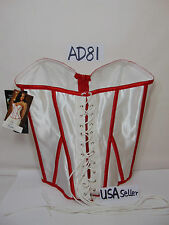 NEW TESA CORSET SEXY LACE-UP RED & WHITE 92220 SIZE 32-ESCANTE STEAMPUNK COSPLAY