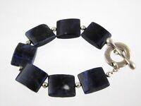 Sterling Silver Blue Sodalite Link Bracelet Toggle Clasp 925 7.5 Inch Length